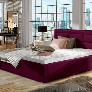 Rovigo 160 čalúnená manželská posteľ s roštom vínová