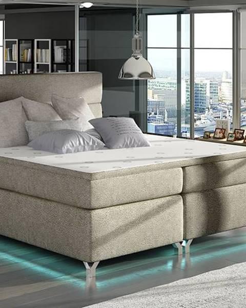 NABBI Avellino 180 čalúnená manželská posteľ s úložným priestorom svetlohnedá