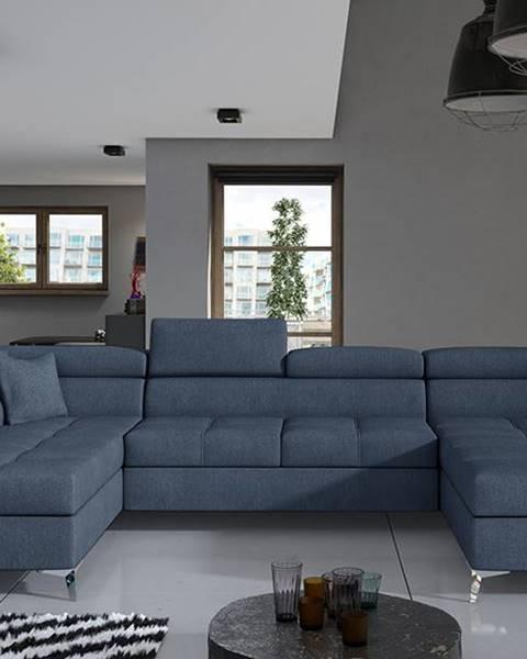 NABBI Enrico U L rohová sedačka u s rozkladom a úložným priestorom modrá