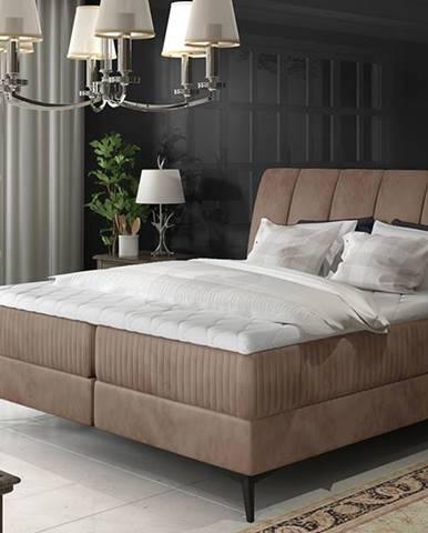Altama 160 čalúnená manželská posteľ s úložným priestorom hnedá