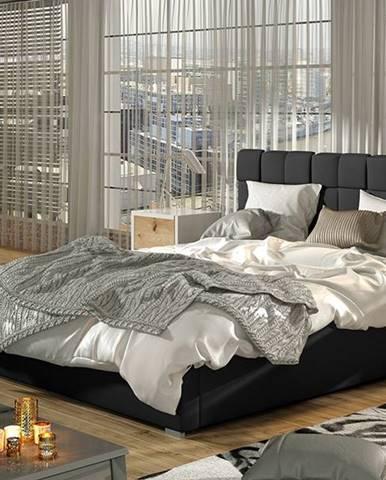 Galimo UP 140 čalúnená manželská posteľ s roštom čierna