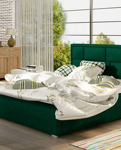 Liza UP 180 čalúnená manželská posteľ s roštom tmavozelená