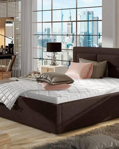 Rovigo 200 čalúnená manželská posteľ s roštom tmavohnedá (Sawana 26)