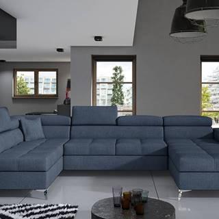 Enrico U L rohová sedačka u s rozkladom a úložným priestorom modrá