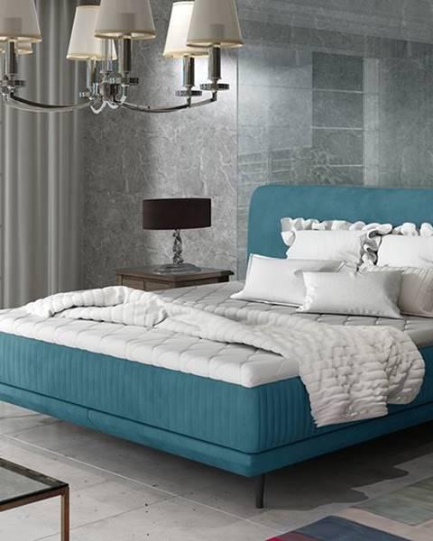 NABBI Ancona 140 čalúnená manželská posteľ tyrkysová