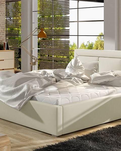 NABBI Branco UP 200 čalúnená manželská posteľ s roštom béžová