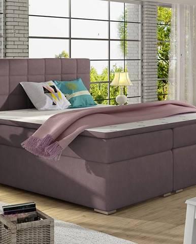 Anzia 160 čalúnená manželská posteľ s úložným priestorom fialová