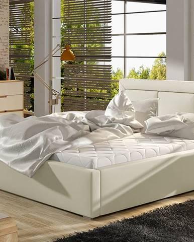 Branco UP 200 čalúnená manželská posteľ s roštom béžová