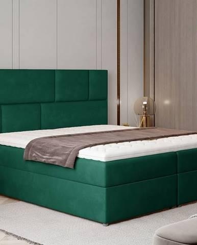 Ferine 185 čalúnená manželská posteľ s úložným priestorom tmavozelená
