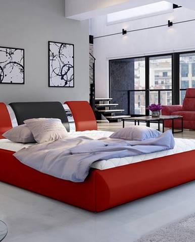 Folino 180 čalúnená manželská posteľ s roštom červená