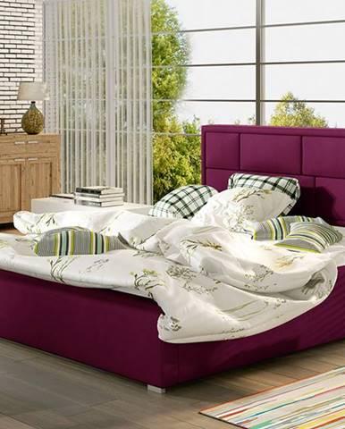 Liza 140 čalúnená manželská posteľ s roštom vínová