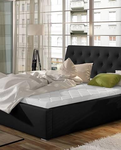 Monzo 140 čalúnená manželská posteľ s roštom čierna