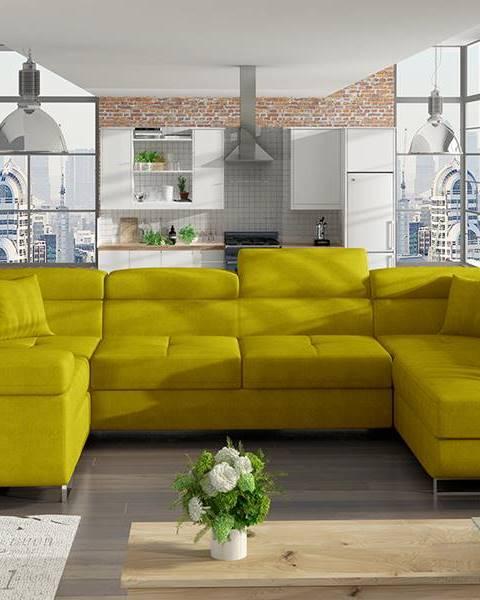 NABBI Licaro U L rohová sedačka u s rozkladom a úložným priestorom žltá