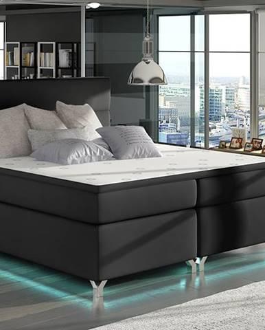 Avellino 160 čalúnená manželská posteľ s úložným priestorom čierna (Soft 11)
