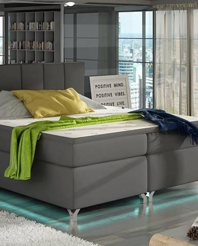 Barino 180 čalúnená manželská posteľ s úložným priestorom sivá (Soft 29)