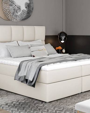 Grosio 145 čalúnená manželská posteľ s úložným priestorom béžová