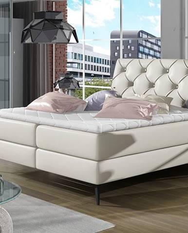 Lazio 140 čalúnená manželská posteľ s úložným priestorom béžová