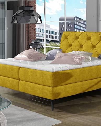Lazio 140 čalúnená manželská posteľ s úložným priestorom žltá