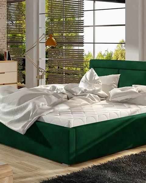 NABBI Branco 160 čalúnená manželská posteľ s roštom tmavozelená