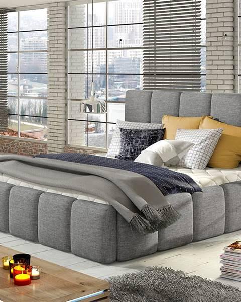 NABBI Evora 160 čalúnená manželská posteľ svetlosivá