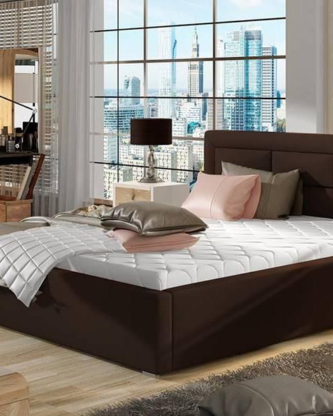 NABBI Rovigo UP 140 čalúnená manželská posteľ s roštom tmavohnedá (Soft 66)