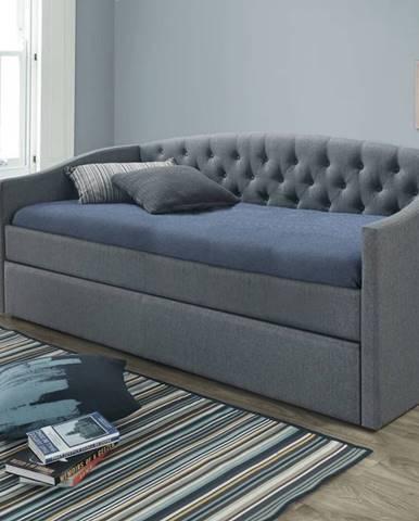 Alessia 90 čalúnená rozkladacia posteľ s prísteľkou sivá
