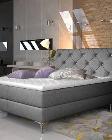 Amika 140 čalúnená manželská posteľ s úložným priestorom sivá