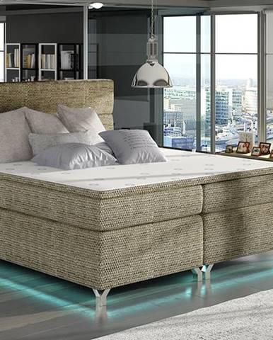 Avellino 140 čalúnená manželská posteľ s úložným priestorom cappuccino