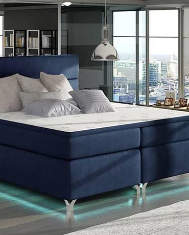 Avellino 160 čalúnená manželská posteľ s úložným priestorom tmavomodrá