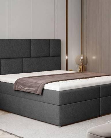 Ferine 185 čalúnená manželská posteľ s úložným priestorom tmavosivá