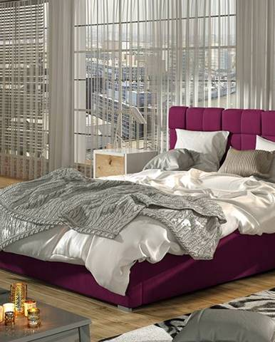 Galimo 180 čalúnená manželská posteľ s roštom vínová