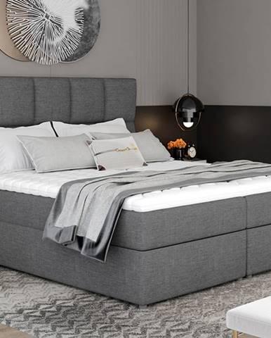 Grosio 185 čalúnená manželská posteľ s úložným priestorom sivá (Sawana 05)