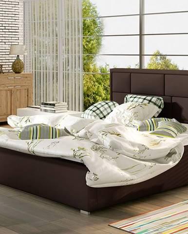 Liza UP 200 čalúnená manželská posteľ s roštom tmavohnedá (Soft 66)