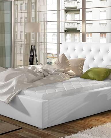 Monzo UP 180 čalúnená manželská posteľ s roštom biela