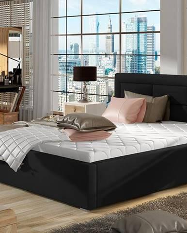 Rovigo 200 čalúnená manželská posteľ s roštom čierna