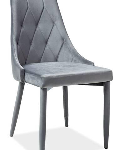 Trix Velvet jedálenská stolička sivá