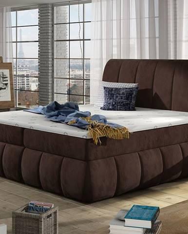 Vareso 180 čalúnená manželská posteľ s úložným priestorom tmavohnedá (Kronos 06)