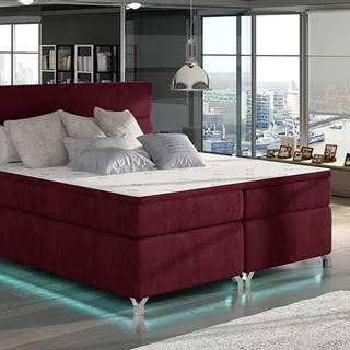 Avellino 160 čalúnená manželská posteľ s úložným priestorom bordová