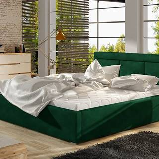 Branco 160 čalúnená manželská posteľ s roštom tmavozelená