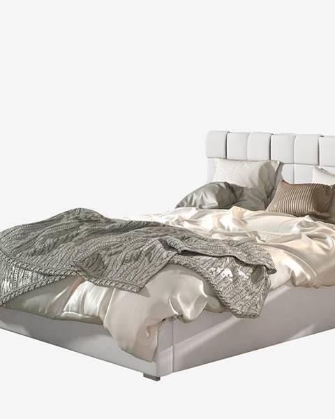 NABBI Galimo 200 čalúnená manželská posteľ s roštom biela