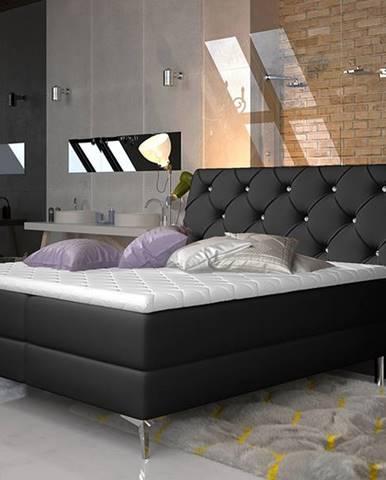 Amika 180 čalúnená manželská posteľ s úložným priestorom čierna (Soft 11)