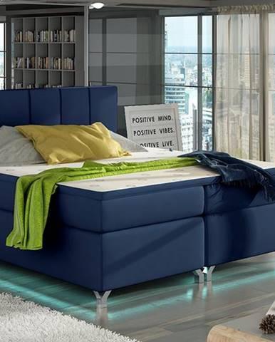 Barino 180 čalúnená manželská posteľ s úložným priestorom modrá