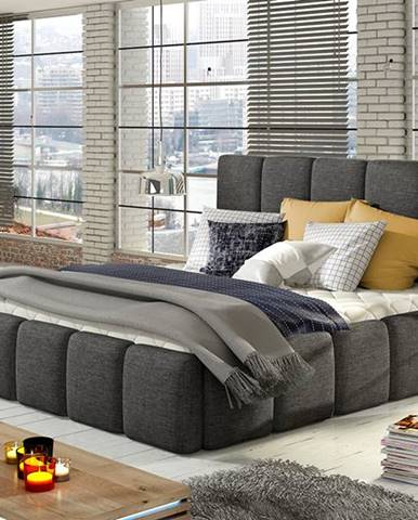 Evora 180 čalúnená manželská posteľ sivá (Sawana 05)