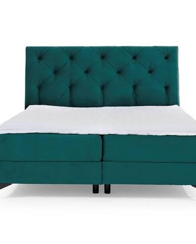 Lazio 140 čalúnená manželská posteľ s úložným priestorom tmavozelená