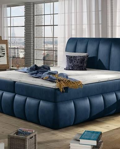 Vareso 160 čalúnená manželská posteľ s úložným priestorom tmavomodrá (Monolith 77)