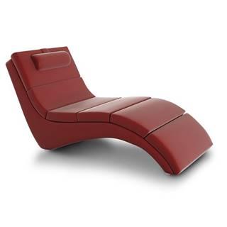 Long relaxačné kreslo červená