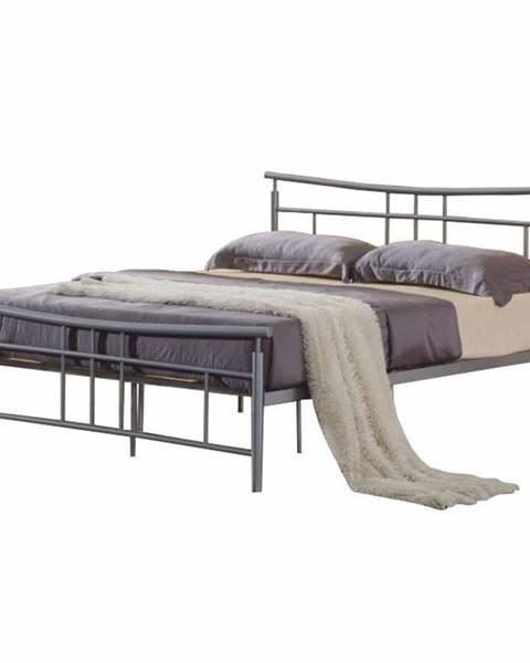 Tempo Kondela Dorado 180 kovová manželská posteľ s roštom matná strieborná