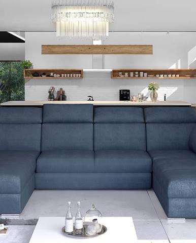 Ermo U P rohová sedačka u s rozkladom a úložným priestorom modrá