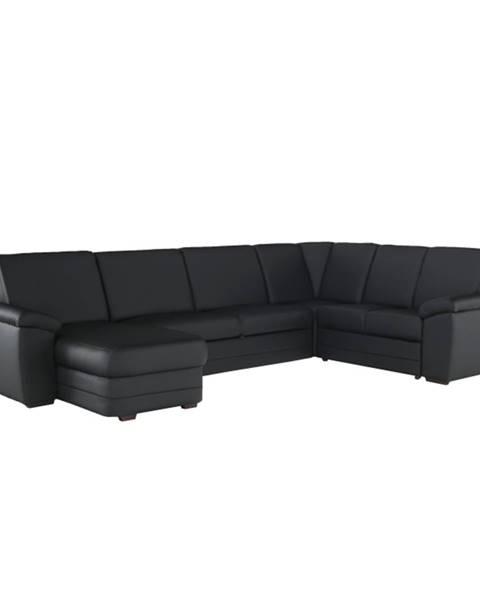 Tempo Kondela Biter U P rohová sedačka u s rozkladom a úložným priestorom čierna