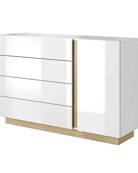 Tempo Kondela City D4S jednodverová komoda so zásuvkami biela